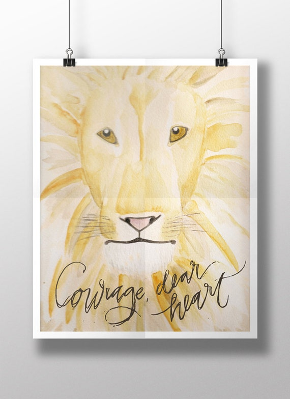 "Nursey Wall Art, Watercolor Art Print ""Courage, Dear Heart"" Digital Download - Aslan C.S. Lewis Lion, Nursery Art. Children's room art,"