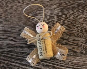 SALE - Angel Ornament - Wine Cork Design