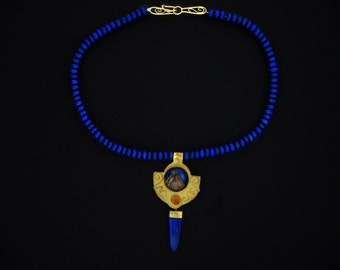 Lapis, 22k gold and sterling necklace
