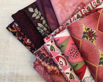 10 Varying Shades of Red Printed Fat Quarters 100% Cotton E7