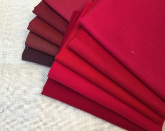 10 Varying Shades of Red Printed Fat Quarters 100% Cotton E8