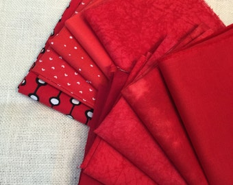 10 Varying Shades of Red Printed Fat Quarters 100% Cotton E19
