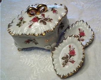 Vintage Cigarette Dish & Ashtrays or Candy Nut Dishes Vanity Set