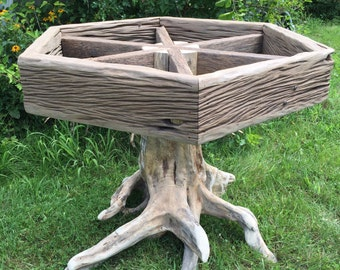 One of a kind driftwood pedestal table