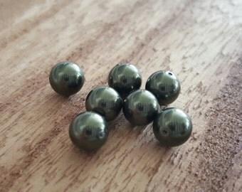7mm Dark green genuine Swarovski Pearls, Green Pearls (7)