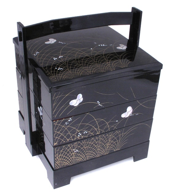 japanese lacquer stack lunch bento box 3 tiers black by. Black Bedroom Furniture Sets. Home Design Ideas
