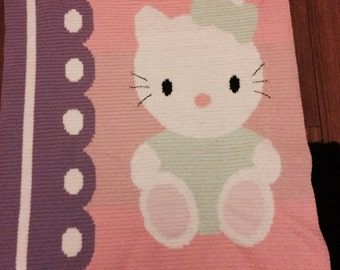 Hand made hello kitty baby blanket
