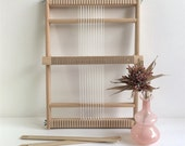 Weaving Loom L with stand (optional), rotating warp bars and heddle bar / Frame Loom / Weefraam