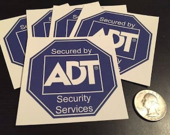 5 ADT Security Alarm Sticker Decal Sign