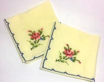 Vintage 40s cotton hand-stitched handkerchiefs