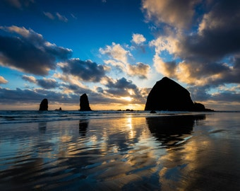 Fine Art Photo Print Cannon Beach Haystack Rock Sunset Reflection Oregon Coast Pacific Northwest Ocean Seascape Landscape Nature Photography