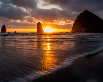 Fine Art Photo Print Cannon Beach Haystack Rock Oregon Coast Pacific Northwest Ocean Seascape Sunset Panoramic Landscape Nature Photography