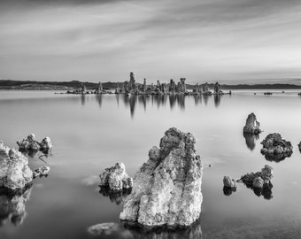Matted Photo Print Mono Lake Tufas Eastern Sierra California Black and White Landscape Nature Photography