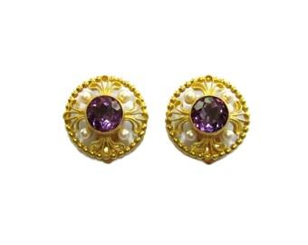 Amethyst & Pearl 18K Earrings