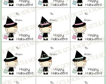 Halloween Cute Witch Square Tags