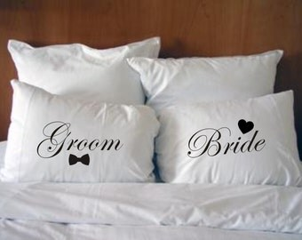 Groom and Bride Pillowcases, Wedding Gift Style #2