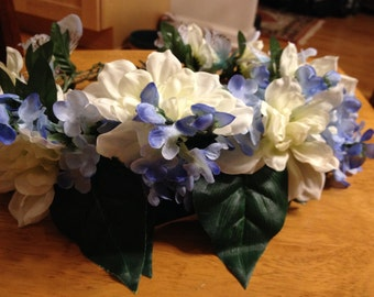 Full blue and white flower crown