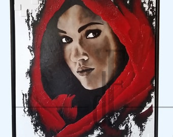 TABLE PAINTING WOMAN on oil painting / / modern contemporary painting on canvas, canvas Red Black Brown