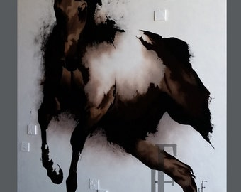 horse contemporary art painting oil modern fine art brown sepia black white