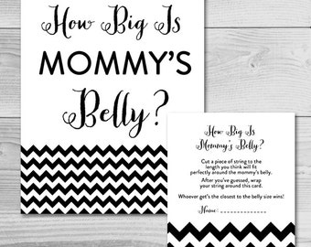 Simple Black Chevron Baby Shower Game - How Big is Mommy's Belly? - Instant Download Printable - Gender Neutral