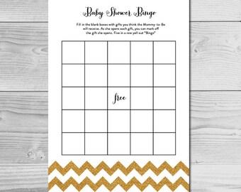 Simple Gold Glitter Chevron Baby Shower Bingo - Instant Download Printable - Gender Neutral