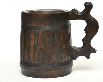 Wooden Beer mug, Groomsmen gift, Stainless steel inside, Natural wood, Groomsmen gift, Dad, grooms gift, beer tankard, German beer Stein