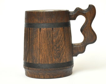 Wooden Beer mug, Custom Beer Mug, natural wood, stainless steel inside, groomsmen gift, Wooden grandpa gift, grandparent gifts, Dad Gift