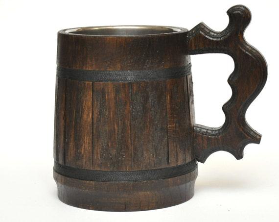 German Wedding Gifts: Wooden Beer Mug Groomsmen Gift Stainless Steel Inside
