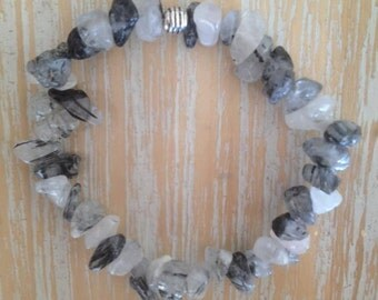 Clear Quartz with Tourmaline crystal bracelet