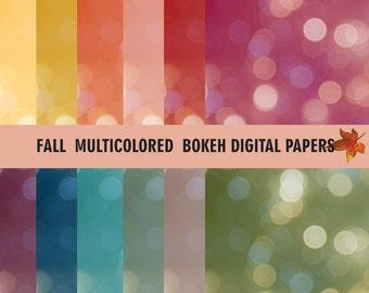 Fall Digital Paper, Bokeh Digital Paper, Bokeh Backgroun, Multicolor Bokeh Instant Download, Photoshop Bokeh, Bokeh Photoshop Overlay