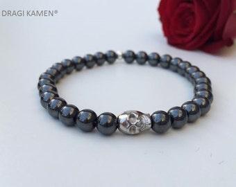 Hematite Skull Bracelet Handmade.