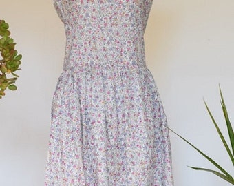 1980s Vintage Cotton Floral Day Dress, Midi Length