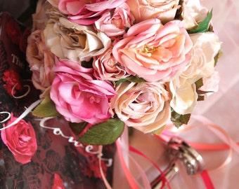 Bridal Bouquet , Wedding Bouquet , Silk Bouquet ,Roses Bouquet , Fuscia , Pink , Peach , Bouquet with Groom 's Boutonniere #No5_001S