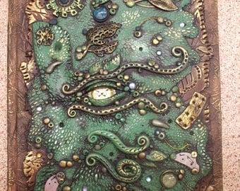 Dragon Eye Journal OOAK sculpt Lizard reptile