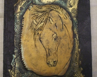 Horse Head journal cover polymer clay