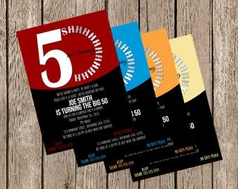 50th Surprise Birthday Invitation - Several Colors Available!