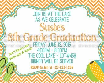 Simple Teen Graduation Invitation - Lake Party - Chevron - Orange/Turquoise