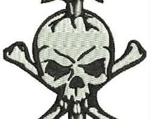 Skull And Sword Embroidery Design