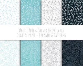 White, Blue & Silver Snowflakes - Instant download digital paper, seamless pattern, scrapbooking supply, background, commercial use