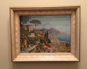 Alois Arnegger Vintage Litho Bay of Naples in original wood 11 X 14