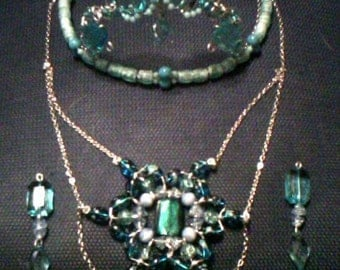 Custom full sized Tiara, Earring, and Necklace set
