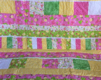 quilt, baby quilt, girl's quilt, pink polka dot quilt, yellow quilt, white quilt, lace quilt, green quilt,baby blanket, flower quilt,cute