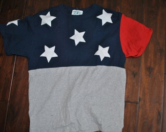 Vintage Cut and Sewed Stars and Stripes Shirt Sz M