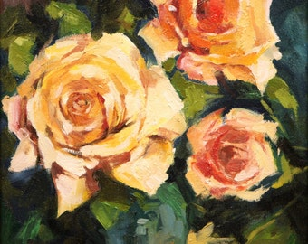 Roses,Giclee Print on Canvas,Still Life Painting,Wall Art Prints,Floral Painting,Home Wall Decor,