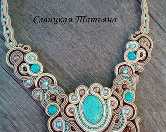 Soutache Statement Oriental Necklace, Soutache Beige Turquoise Necklace, Hand Embroidered Soutache Jewelry, Oriental Soutache Jewelry