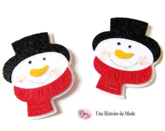 2 applique snowman in felt to sew or paste - 60 x 48 mm
