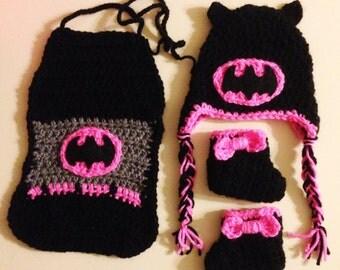 Batman/Bat girl crochet set – Made to Order