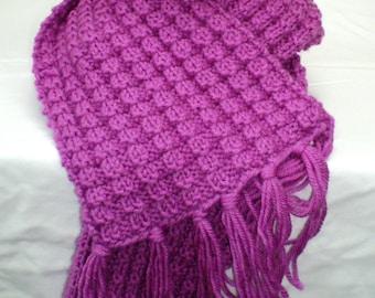 Hand Knitted Scarf - Fuschia