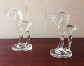Pair of L.E. Smith Handblown Glass Horses