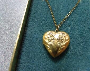 Theda Vintage Heart Locket 12K GF Original Box